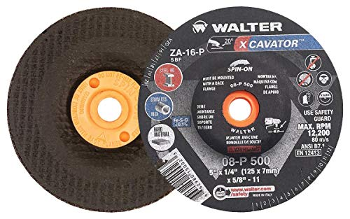 - Walter 08P500 XCAVATOR Grinding Wheel - [Pack of 20] A-16-P Grit, 5 in. Surface Finishing Wheel. Abrasive Tools and Accessories