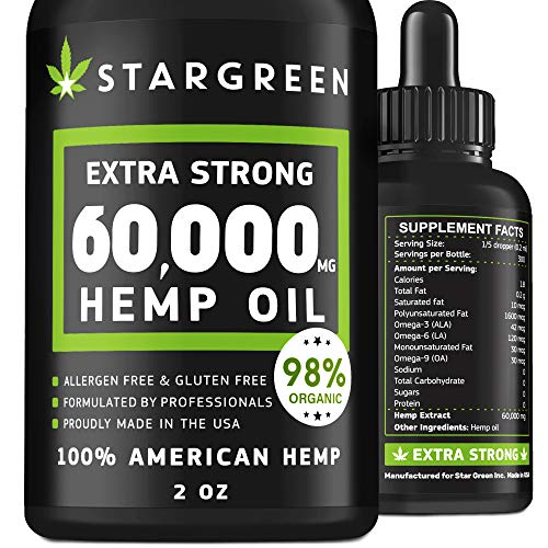 Hemp Oil 60.000mg - Made in USA - Hemp Oil with Vitamin C, Rich in Omega 3,6,9 - Prime Brain Support, Anxiety & Stress Relief - 100% Natural Way to Improve Health, Sleep & Boost Immunity
