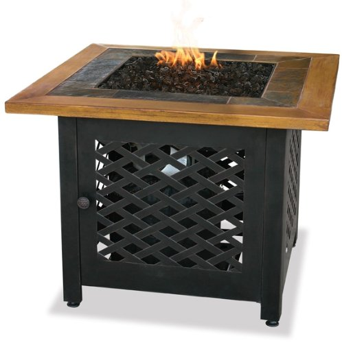 Endless Summer, GAD1391SP, LP Gas Outdoor Firebowl with Slate and Faux Wood Mantel (Propane Fire Pit Wicker compare prices)