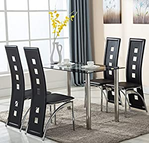 5 Piece Glass Dining Table Set 4 Leather Chairs Kitchen Furnitur