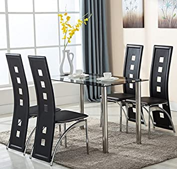 5 piece glass dining table set 4 leather chairs kitchen furniture - Table And Chair Sets Kitchen
