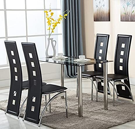 Amazon.Com: 5 Piece Glass Dining Table Set 4 Leather Chairs
