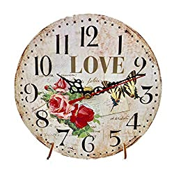 ORSHIS Love Design 6 Wall Clock with Wooden Stand, Ideal for Kitchen, Dinning Room, Guest Room and Living Room