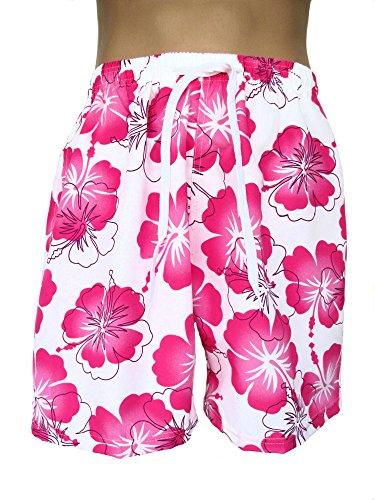 Herren Bermudas, Shorts, kurze Hose, Badeshorts, Blumenmuster, Hawaii, weiß-rosa, AM-HE-Ber-EF-wHG-rosBl