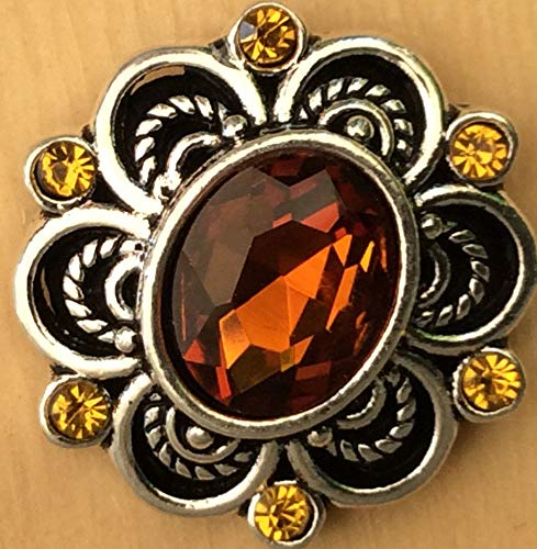 Snap Chunk Button 20mm Amber and Yellow Charm for Ginger Snap Style Jewelry SE-2637