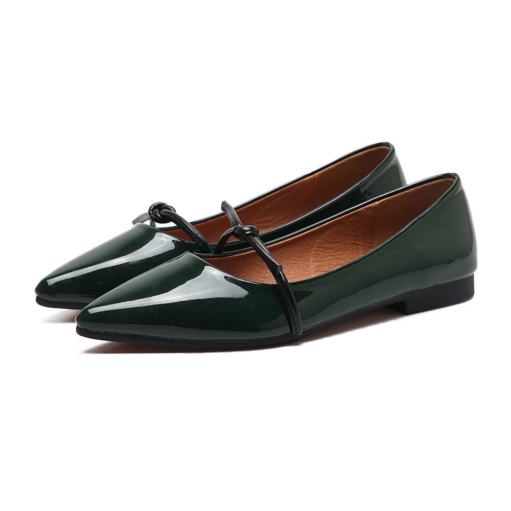 Xue Qiqi Court Schuhe Flacher Mundschmetterling weiblicher Flacher Mundschmetterling Flacher der flachen Schuhe flach mit den einfachen einfachen Schuhen des einfachen Leders des Lackleders 36 grün afa086