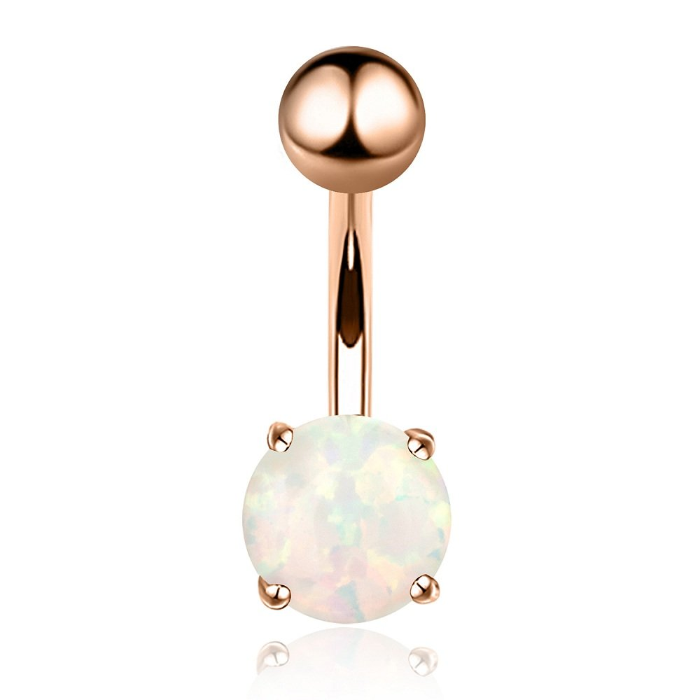 14G Opal Belly Button Ring Navel Barbell Rings 316L Surgical Steel Rose Gold Body Piercing Jewelry for Women Girls Kokoma B079GLPXJB_US
