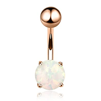 14g Opal Belly Button Ring Navel Barbell Rings 316l Surgical Steel Rose Gold Body Piercing Jewelry For Women Girls