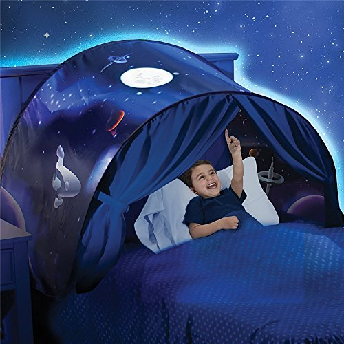 Magical Dream Tent Portable Kids Pop Up Bed Tent Playhouse Kids Gift Set Unicorn / Dinosaurs (Space Adventure)