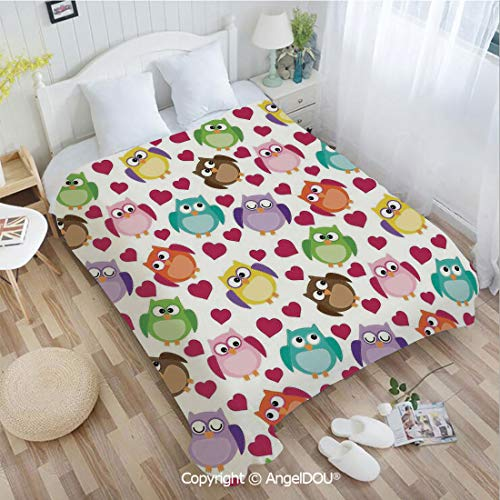 (AngelDOU Printed Blanket Soft Quilt Bed Throws W55 xL72 Owls Retro Decor Comic Colorful Birds and Hearts Valentines Hoot Animals Art Print De Bed Cover Air Condition Blankets.)