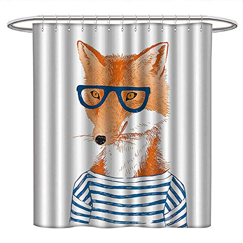 Anniutwo ModernPattern Shower curtainHipster Woman Fox with Glasses and Striped Shirt Humor Character Animal PrintFabric Shower curtainBlue Orange White ()