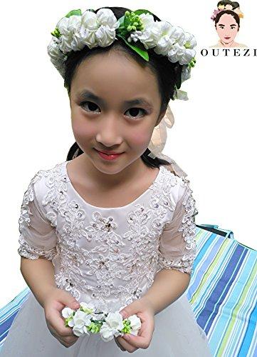 FENHAR Child Girl Flower Crown Headband with Bracelet/ Baby Girl Headband/Girl Headband Baby/Toddler Headband (Pure white)
