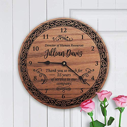 Personalized Solid Oak Retirement Clock Gift - Womens Retirement by Story Cabin