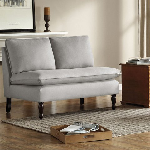 Contemporary French Seams Grey Fabric Loveseat Modern Armless Sofa Couch with Wooden Legs