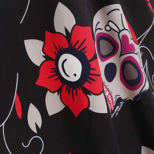 De Longues Femme Crâne Imprimé Chic Tutu Halloween Manche A Soiree Hiver Vintage Dentelle Robe Noir Sexy Dress Ultra PSFwqP