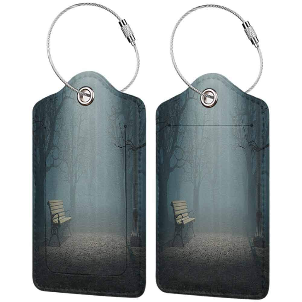 Modern luggage tag Farm House Decor Bench In The Park On A Dark Mysterious Night Scary Forest Horror Theme Habitat Design Suitable for children and adults Teal W2.7 x L4.6
