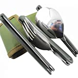BXT Stainless Steel Professional Army Style Compact Foldable Cutlery Utensil Set for Travel Outdoor Camping Hiking Picnic BBQ Fishing/Packed Lunch Fork Knife Spoon three pieces Portable Pocket Tableware Dinnerwar Set in Canvas Carry Pouch