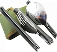 BXT Stainless Steel Professional Army Style Compact Foldable Cutlery Utensil Set for Travel Outdoor Camping Hi