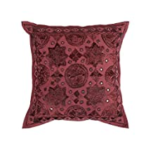 Ganesham- Maroon Embroidery Work Handmade Pillow Case,Indian Cushion Cover, Decorative Sofa Boho Chic Bohemian Pillow Throw