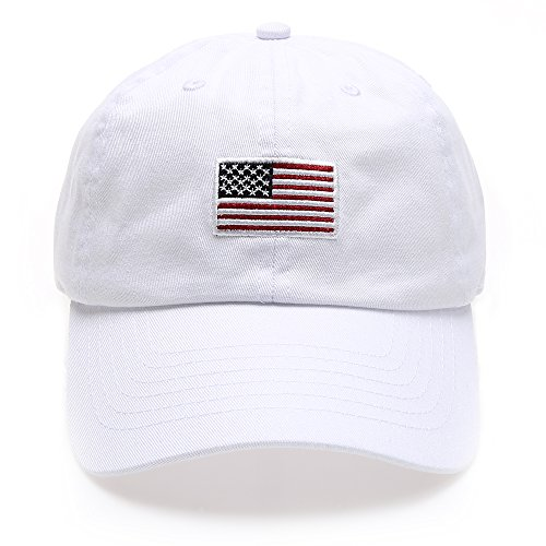 MIRMARU USA American Flag Embroidered 100% Cotton Low Profile Adjustable Strap Baseball Cap Hat(Flag -White)