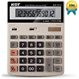 Calculator, KDT Handheld Standard Function Desktop Calculators, Solar Battery LCD Display Office Calculator, Flip Screen with 12 Digit Large Display (Ivory)