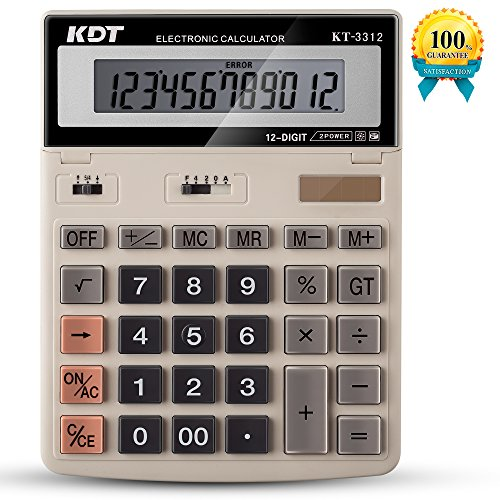 Calculator  Kdt Handheld Standard Function Desktop Calculators   Solar Battery Lcd Display Office Calculator  Flip Screen With 12 Digit Large Display  Ivory