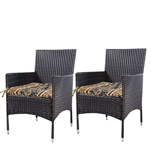 Prettyshop4246 Set of 2 Pcs Indoor Outdoor Wicker Warm Cushion Seat Pad Poolside Home Garden Patio Backyard Balcony Linen Fabric Made in USA Product Soap Maintain Easy Clean Brown Tone Color by Prettyshop4246 (Image #3)