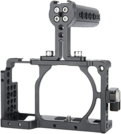 Cold Shoe Mounts for Mounting Accessories CNC Aluminum Lightweight DSLM Cage FC-A6360-CH2 Dual Side Handles for Sony Alpha A6000 A6300 ILCE-6000 6300 NEX-7 FILMCITY Professional Camera Cage