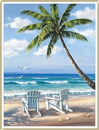 Beach Diamond Painting- Partial Coverage, Beach Diamond Painting Kits, Round Rhinestone, DIY Tool Kit Art Supplies- Fun Gifts for Friends&Family, Adults&Children, Craftwork for Indoor Décor(12