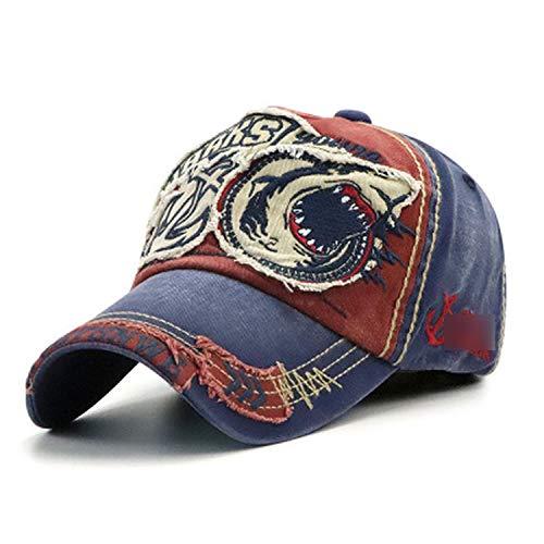 野球帽 男性女性 綿のサメの刺繍フィット キャップ,暗赤色