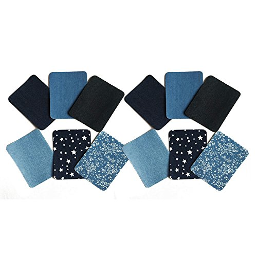 12 PCS Iron On Denim Jean Patches For Clothing, No-Sew Shades 6 Colors Assorted Cotton Jean Repair Kit, Great Solution for Holes in Fabric (4.9