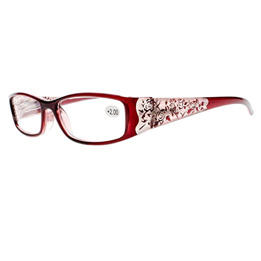 f80df5689c Women Red Floral Rhinestone Reading Glasses Spring Hinges Readers  +1.00~+4.00 (Red