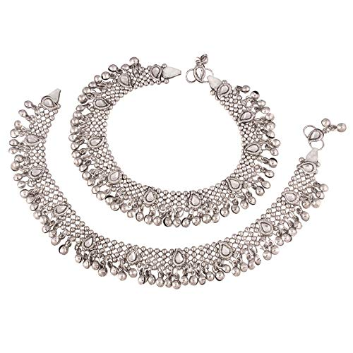 I Jewels Oxidized Silver Kundan Anklet for Girls & Women (A021S)