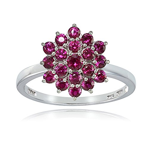 Sterling Silver Created Ruby Flower Ring, Size 8