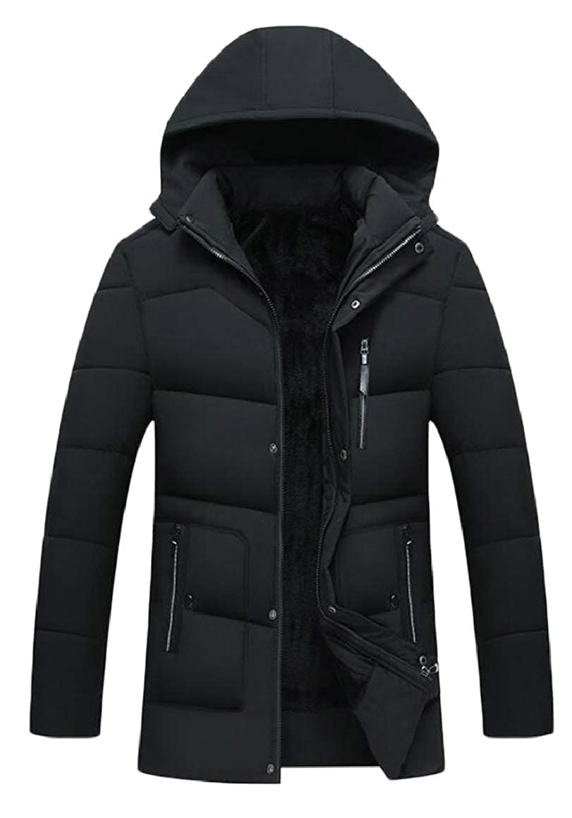 e683369ee90661 Black Qiangjinjiu Men Hooded Hooded Hooded Thickened Down Coat Casual  Padded Quilted Jacket Outerwear ed5c99