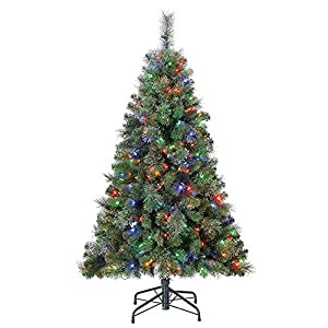 Home Heritage Cascade Artificial Pine Christmas Tree with Dual LED Changing Lights 2