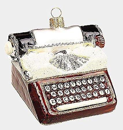 Estilo Vintage máquina de escribir polaco adorno de Navidad de cristal soplado a boca decoración