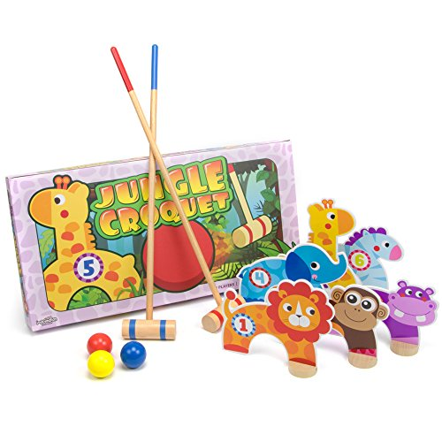 Jungle Croquet Game, Indoor/Outdoor Family Fun with 6 Wooden Zoo Animal Wickets by Imagination Generation
