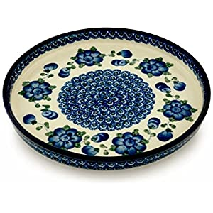 Polish Pottery Cookie Platter 10-inch Blue Poppies