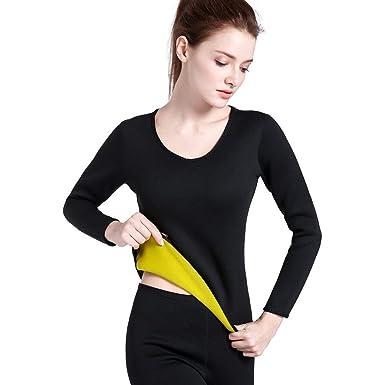 À Manches Longues en néoprène Chaud Sweat Body Shaper Femme Chemise  vêtements de Sport Tops Minceur cd9ceb10776