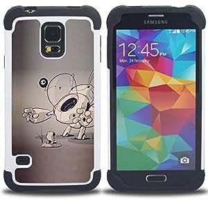 """SAMSUNG Galaxy S5 V / i9600 / SM-G900 - 3 en 1 impreso colorido de Altas Prestaciones PC Funda chaqueta Negro cubierta gel silicona suave (Perro de perrito del bosquejo gris Artista Arte de la historieta"""")"""