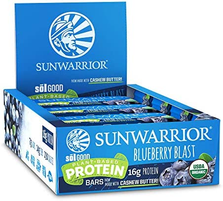 Sunwarrior Sol Good Protein Bars Blueberry Blast, Organic, 12 Riegel