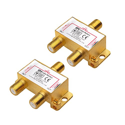 (Cable Matters 2-Pack Gold Plated 2.4 Ghz 2 Way Coaxial Cable Splitter (Coaxial Splitter, TV Splitter, Coax Splitter, RG6 Splitter))