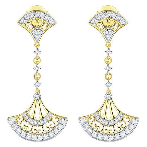 10k Number Dangle Earring - Prism Jewel 0.54Ct Natural Diamond Hand Fan Style Drop Dangle Earring, 10k Yellow Gold