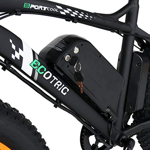 "REVIEW ECOTRIC Fat Tire Electric Bike Beach Snow Bicycle 26"" 4.0 inch Fat Tire ebike 500W 36V/12AH Electric Mountain Bicycle with Shimano 7 Speeds Lithium Battery Black/Orange/Blue 
