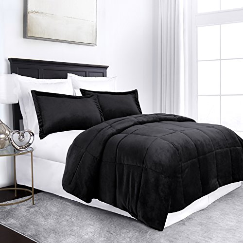 Sleep Restoration Micromink Goose Down Alternative Comforter Set - All Season Hotel Quality Luxury Hypoallergenic Comforter/Blanket with Shams - Full/Queen - Black