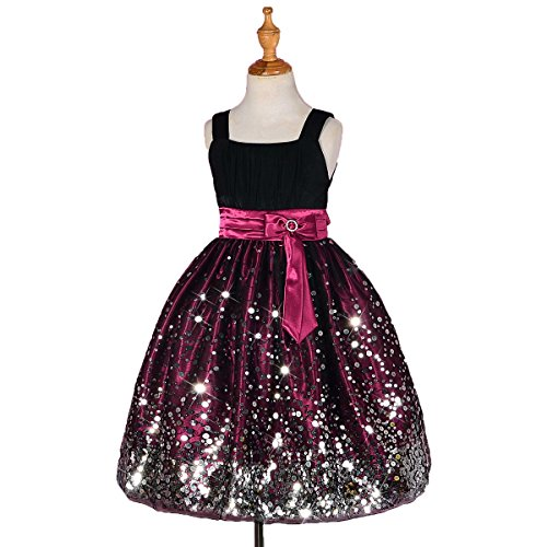 Dressy Daisy Girls' Pageant Dresses Party Prom Dress With Rich Sequins Size 9-10 (Pleated Silk Like Satin)