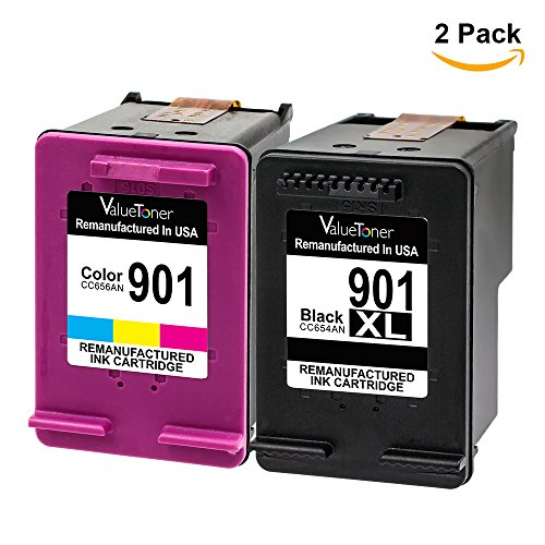 Valuetoner Remanufactured Ink Cartridge Replacement For Hewlett Packard HP 901XL & HP 901 High Yield CZ722FN CC654AN CC656AN (1 Black, 1 Tri-Color) 2 Pack - Printer Ink Hp 901