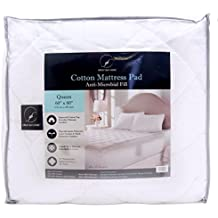 Great Bay Home Ultra-Soft Cotton Quilted Mattress Pad. Comfortable. Stretches up to 18 Inches Deep. By Brand. (Queen, White)