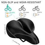DAWAY C900 Bike Seat with Rechargeable Taillight - Men Women Foam Padded Leather Wide Bicycle Saddle Cushion, Comfortable, Waterproof, Dual Spring, Soft, Breathable, Universal, 1 Year Warranty, Black